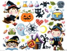 """Little Witches"" counted cross stitch pattern leaflet."