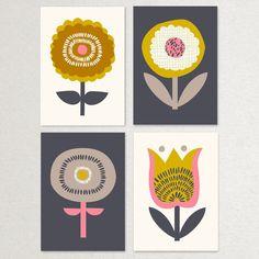 Scandinavian Flowers - Pack of 4 Postcards