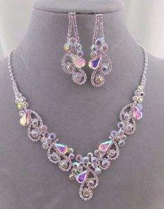 Silver With AB Crystal Necklace Set Fashion Jewelry NEW So Pretty! #ChristinaCollection