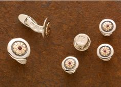 """Bolero - Cufflinks and studs with 14kt gold and rubies on sterling silver  11/16"""" &  9/16"""""""