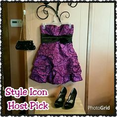 **Host Pick** Fun purple party dress/prom dress. Excellent condition.  With black flower pin. Perfect for a party or a night out with the girls!  Add the purse that is in the photo for $5. Dresses Prom