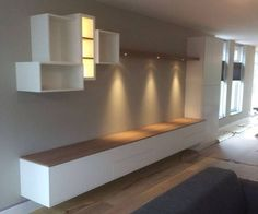 Tv dressoir wandkast eikenhout wit LED spots | Te Boveldt Meubelmakerij & Interieurbouw