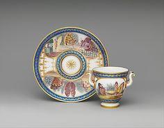 Cup (Tasse à l'étrusque) and saucer Sèvres Manufactory (French, 1740–present) Decorator: Louis-Gabriel Chulot (active 1755–1800, 1805–18) Maker: Gilder: Étienne-Gabriel Girard (active 1762–1800) Date: 1794