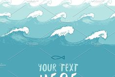 Beautiful blue waves background by grop on @creativemarket