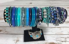 Lot of 32 Vintage to Now  Estate Costume Bracelets  Blue Mixed Materials