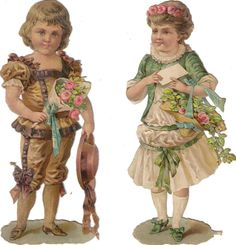 2 Victorian Die Cut Scrap  Boy & Girl w Flowers c1880s