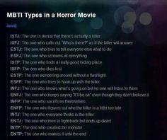 "MBTI in a Horror Movie ""INTJ: The one who everyone thinks is the killer."" Baaahahaha… >:D"