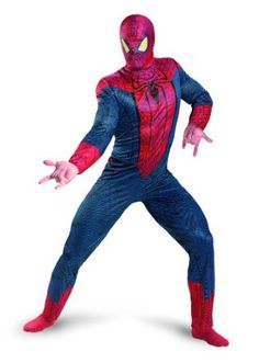 The Amazing Spiderman 3-D Movie Classic Adult Costume! 100% Polyester and hand wash! Jumpsuit and character hood. Be a super-hero for Halloween! @halloween #spiderman #superhero #adultcostume #costume #jumpsuit #mask #characterhood