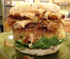 <p>This burger is vegan and gluten-free and it's the most delicious of all the burgers I've ever made. It's made from eggplant. That's right, no beans, no tofu, no TVP. The flavor of this burger is so deep and rich, it's really amazing.</p>
