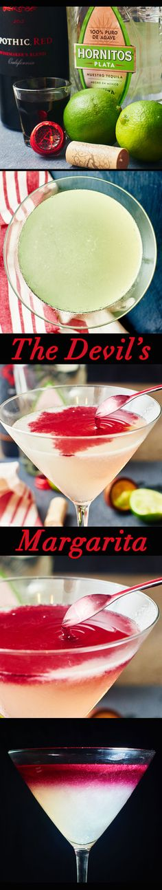 A little sweet, a little tart, and a whole lot of yummy. All you need is lime, sugar, tequila and red wine! The Devil's Margarita is great for one, or even a crowd. showmetheyummy.com #margarita