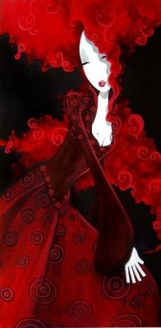 woman with beautiful red hair in a velvety red dress Illustration Arte, Illustrations, I See Red, Simply Red, Grafik Design, Shades Of Red, My Favorite Color, Love Art, Red Color