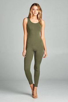 3360b0c0777b Imported Cotton Spandex Earth Olive ACT Ladies fashion sleeveless bodycon  jumpsuit Item Measurements  SIZE SMeasurements  SIZE SLength
