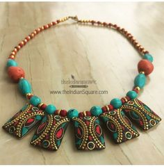 #Tribal #Rectangle #Style #Beaded #Neckpiece. It has intrinsic design & look. CASH ON DELIVERY available.
