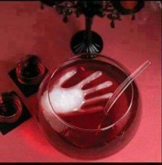 Halloween punch, fill a glove with water & freeze.