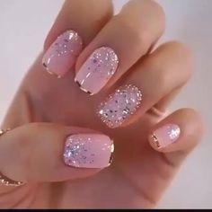 Nail Art Designs Videos, Gel Nail Designs, Glitter Nail Designs, Fancy Nails Designs, Popular Nail Designs, French Manicure Designs, Best Nail Art Designs, Trendy Nail Art, Stylish Nails