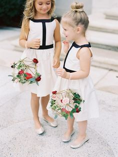 Flower girl baskets are an essential part of your youngest attendant& wedding-day attire, but that doesn& mean they have to be standard or boring. Here, we share pretty, unique ideas for flower girl baskets. Flower Girl Bouquet, Flower Girl Basket, Flower Girl Dresses, Flower Girls, Non Flower Bouquets, Blush Gown, Alternative Bouquet, Bridesmaid Flowers, Flowergirl Flowers