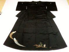 Japanese Kimono Silk Black Tomesode Turtle Grass Good Condition P101528 | eBay