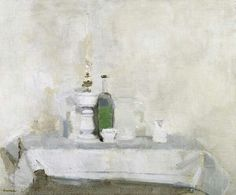William Brooker  Still Life - White Oil Lamp & Jug, 1960  oil on canvas
