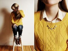 Knitted Sweater. Button up. Necklace. Rolled jeans. Booties.