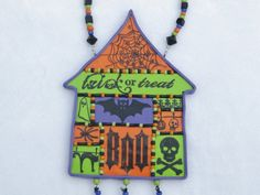 Halloween Decor Polymer Clay Mosaic Decoration by raecrowstudio, $30.00