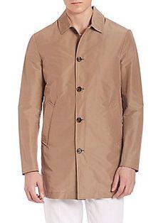 Eleventy Short Cotton Raincoat - Beige - Size