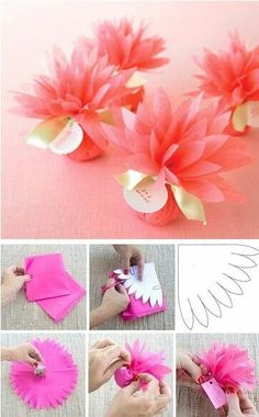 This would be super sweet to use for party favors at Nevaeh's birthday - Wedding Favors Flower Crafts, Diy Flowers, Fleurs Diy, Diy And Crafts, Paper Crafts, Tissue Paper Flowers, Wedding Favors, Baptism Party Favors, Christening Favors