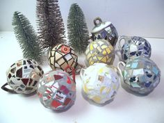 Recycled China Mosaic Christmas Ornaments  by TheMosaicButterfly, $22.50