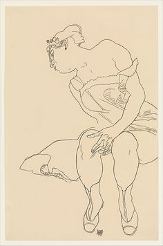Egon Schiele | Seated Woman in Corset and Boots | The Met