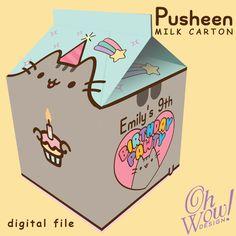 Pusheen Theme Spilt Milk Carton Favor by OhWowDesign on Etsy 12th Birthday, Slumber Parties, Unicorn Birthday Parties, Birthday Party Themes, Birthday Ideas, Themed Parties, Pusheen Birthday, Pusheen Cat, Cat Party