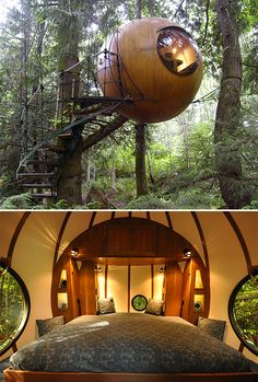 Free Spirit Spheres - Designed & built by Canadian craftsman Tom Chudleigh, Free Spirit Spheres are ewok-style treehouses made to hang suspended in the forest canopy—putting its inhabitants up in the trees, making for a unique wilderness experience that minimizes human impact on the environment. | via werd.com
