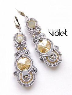 Soutache Earrings Golden Silver by Violetbijoux on Etsy, $67.00
