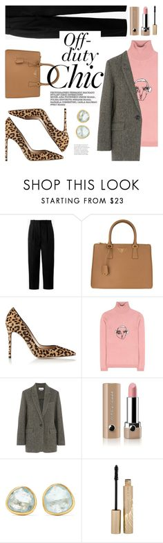 """""""Off-duty Chic"""" by ivansyd ❤ liked on Polyvore featuring Acne Studios, Prada, Gianvito Rossi, Shrimps, Étoile Isabel Marant, Marc Jacobs, Pippa Small, Stila and animalprintshoes"""