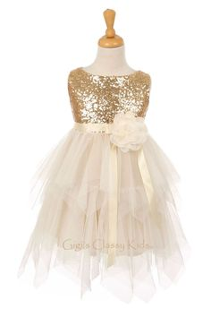 037eada82bb Details about New Gold Flower Girls Dress Pageant Wedding Birthday Party  Christmas Easter 6370