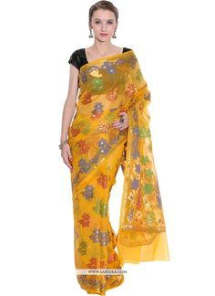 Fashion and trend will be at the peak of your splendor once you attire this yellow fancy fabric traditional  saree. The interesting weaving work across the attire is awe inspiring. Comes with matching...