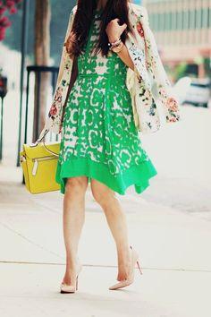 Print Mix:floral Blazer + Print Dress ( Floral Jackets & Graphic Dresses )Love the blazer.