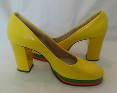 "Vintage 70's Women's ""Styled in Italy"" Yellow Platform Pumps New Old Stock Mod 