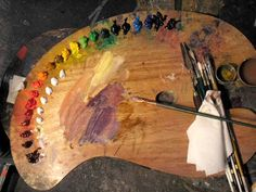 """The kidney shaped wooden palette has become the universal symbol of the """"painter"""" and is essential to any artist using pigment. A palette is defined as, """"a thin and usually oval o… Painting Tips, Painting & Drawing, Palette, Art Hoe, Art Tips, Art Studios, Painting Techniques, Art Tutorials, Painting Tutorials"""