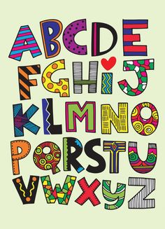 Hand drawn capital cartoon English alphabet with capital letters Alphabet Design, Fonte Alphabet, Doodle Alphabet, Alphabet A, Hand Lettering Alphabet, Doodle Lettering, Creative Lettering, Graffiti Lettering, Lettering Styles