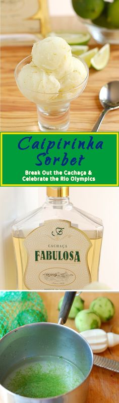 Enjoy a cold and refreshing Caipirinha Sorbet while watching the Rio Olympics. Easy recipe with just 4 ingredients. Make with or without an ice cream machine.