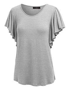 e24159d33a4 MBJ WT1198 Womens Round Neck Short Ruffle Sleeve T Shirt ... https