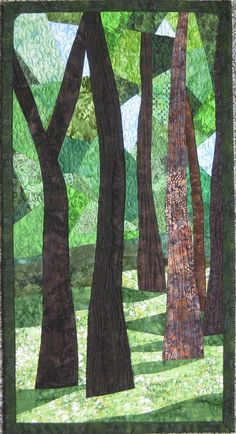 Art Quilt Trees 12 abstract  Landscape quilt  by ArtQuiltsBySharon