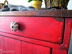 Rustic Red Dry Sink. Painted in Miss mustard Seed Tricycle.
