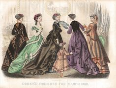 Vintage Hand Coloured Print - Godey's Fashions For March 1868