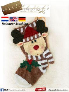 Kerstsok Rendier - Haakpatroon van Eelz! - Eelzuhtjuh's Crochet & More op DaWanda.com