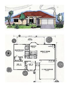 Southwest House Plan 54601 | Total Living Area: 1432 sq. ft., 3 bedrooms and 2 bathrooms. #southwesternhome