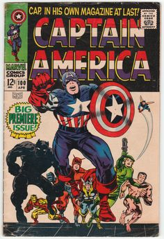 Captain America #100 G/VG: 1/2 inch tape stain at top and bottom spine corner, 1 inch piece of tape on inside front cover at bottom corner tip; First Issue, Jack Kirby artwork and cover art, Cap's revival retold with Sub-Mariner and Avengers cameos, Black Panther guests, Agent 13 and Zemo appear, Nick Fury cameo. $80