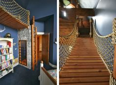 Splendid Bedroom Interior Design for Kids in Pirates Ship Themed : Striking Rope Bridge Design On Pirate Ship Bedroom