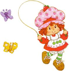Strawberry Shortcake jumping rope with butterflies. Strawberry Shortcake Cartoon, Decoupage, Tarjetas Diy, Childhood Characters, Rainbow Brite, American Greetings, Old Cartoons, Ol Days, Paper Dolls