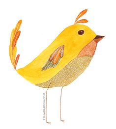 Erika Barriga - Golden Bird Watercolor