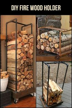 Build a fire wood holder from plumbing pipes Use leftover pipes to make a DIY fire wood holder. It's a great organization and storage piece for your home. Easy Diy Projects, Wood Projects, Wood Storage Rack, Firewood Shed, Indoor Firewood Storage, Into The Woods, Home Remodeling Diy, Diy Holz, Plumbing Pipe